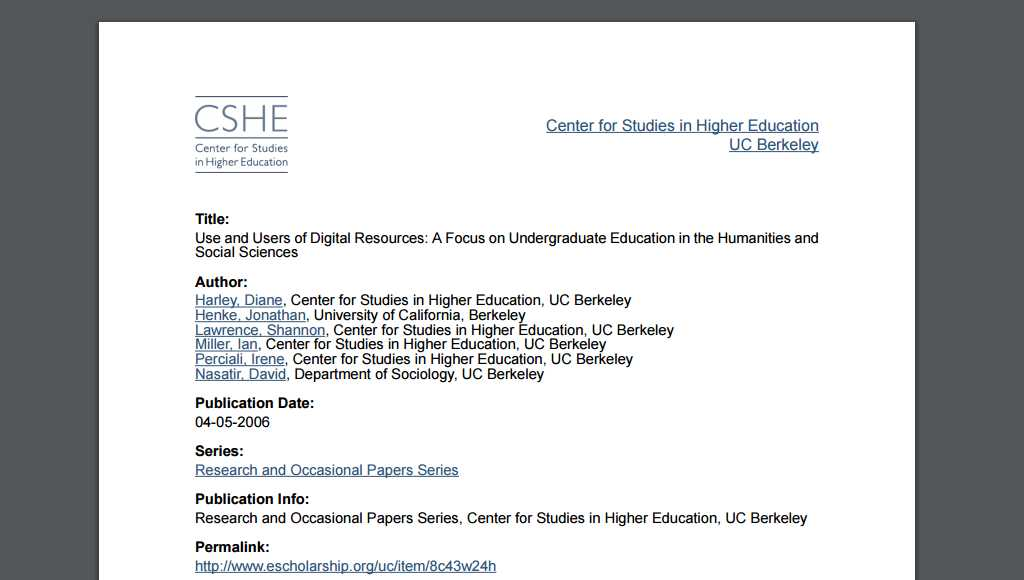 paper: Use and Users of Digital Resources